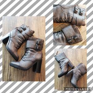 Tory Burch Broome Irish Charcoal Combat Boots